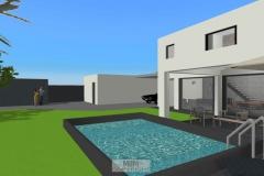 Außenansicht_Süden_mit geplantem Pool und Garage im Hintergrund
