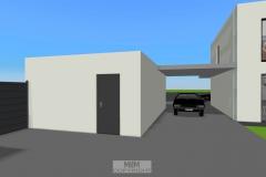Garage mit Überdachung zum Wohnhaus (geplant)