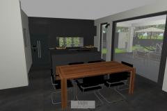 Wohnzimmer mit Blick zum Esszimmer und Küche