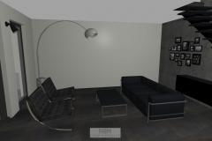 Wohnzimmer mit unseren Barcelona Chairs und Arco von Flos
