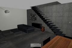 Wohnzimmer mit Treppe in das OG