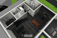 Luftbildansicht Erdgeschoss mit HWR, Eingangsbereich und Gästezimmer/-WC