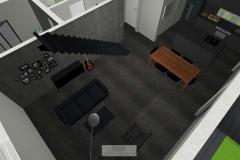 Luftbildansicht Wohnzimmer mit Esszimmertisch und Küche