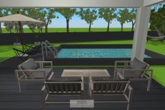 Terrasse mit geplanter Überdachung und Pool