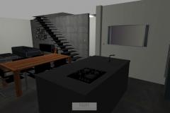 Küche mit Blick zur Treppe