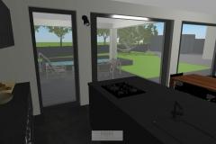 Küche mit Blick in den Garten/Terrasse
